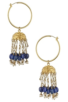 Gold Finish Blue Maniya And Pearl Jhumki Earrings by Art Karat