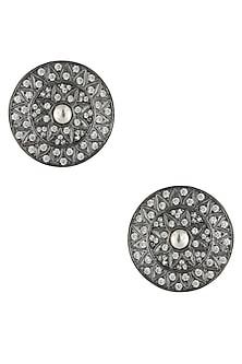 Antique Silver Glossy Finish Zircons Round Stud Earrings by Art Karat