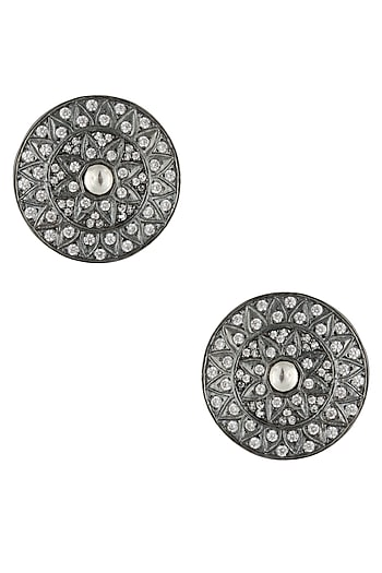 Antique Silver Glossy Finish Zircons Round Stud Earrings by 2485,