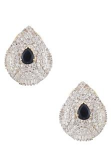 Gold Finish Zircons And Black Stone Tear Drop Earrings by Art Karat