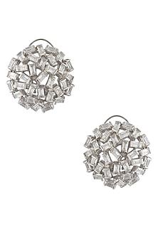 Silver Finish Zircons Stone Jaal Earrings by Art Karat
