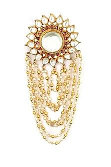 Gold finish kundan chain fringe flower brooch by Sonnet Jewellery-JEWELLERY ON DISCOUNT