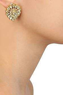 Gold Finish Kundan Stone Studd Earrings by Art Karat