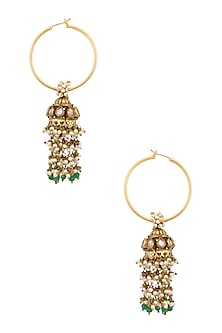 Gold Finish Greeb Beads and Pearls Textured Jhumki Drop Hoop Earrings by Art Karat