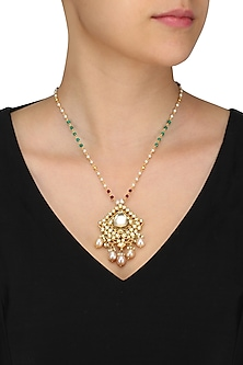 Gold Finish Kundan Stone Pendant Beads Necklace by Art Karat