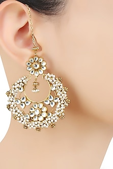 Gold Finish Kundan Stones and Baby Pearls Crescent Earrings by Art Karat