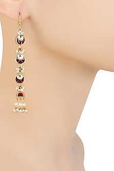 Gold Finish Maroon and Kundan Stones Long Earrings by Sonnet Jewellery
