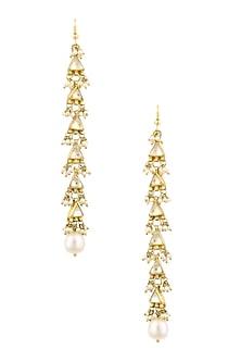 Gold Finish Kundan Stones Triangle Shape Earrings by Art Karat