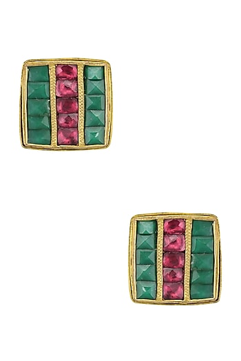 Gold Finish Emerald and Maroon Kundan Stone Stud Earrings by Art Karat
