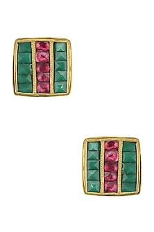 Gold Finish Emerald and Maroon Kundan Stone Stud Earrings by Sonnet Jewellery