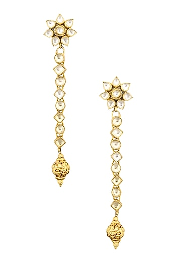 Gold Finish Kundan Stones and Textured Bead Drop Earrings by Sonnet Jewellery