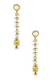 Gold Finish Kundan Stone Top and Pearls Drops Long Earrings by Art Karat