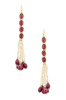 Gold Finish Maroon Kundan Stone and Pearl Chain Hanging Earrings by Art Karat
