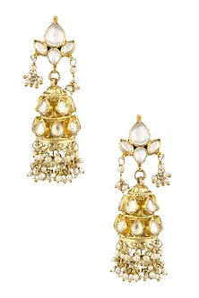 Gold Finish Kundan Stones and White Pearls Jhumki Earrings by Art Karat