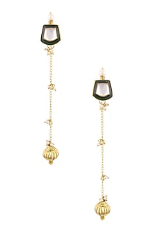 Gold Finish Kundan Stone Green Enamelled Top and Pearls Earrings by Art Karat
