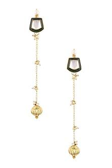 Gold Finish Kundan Stone Green Enamelled Top and Pearls Earrings by Art Karat
