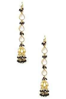 Gold Plated Kundan Stone Jhumki Earrings by Art Karat