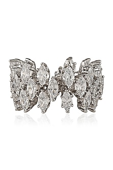 Silver Finish Zircon Ring by Art Karat