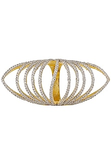Silver Finish Zircon Semi Circle Ring by Art Karat