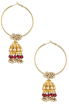 Antique Gold Plated Red Beads Jhumki Drop Earrings by Art Karat