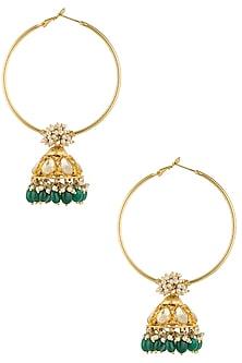 Antique Gold Plated Green Beads Jhumki Drop Earrings by Art Karat