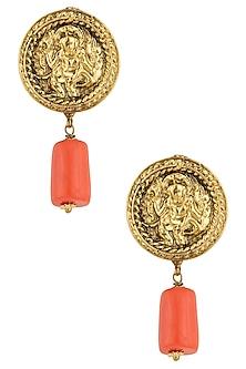 Antique Gold Plated Embosed God Image Stud Earrings by Art Karat