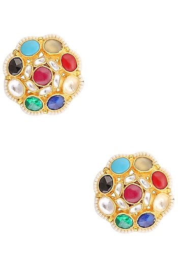 Gold Finish Navratan Stone Earrings by Art Karat