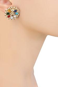 Gold Finish Navratan And Kundan Stone Earrings by Art Karat