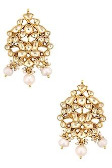 Gold Finish Kundan And Pearl Earrings by Art Karat