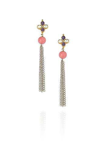 Gold finish kundan stone flower head earrings by Art Karat