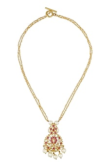 Gold finish pearl and ruby double string necklace by Art Karat