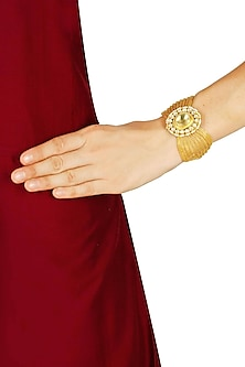Gold plated kundan and pearl studded baju bandh by Sonnet Jewellery