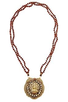Gold plated goddess lakshmi pendant rudraksh necklace  by Art Karat