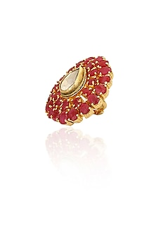 Gold plated ruby and kundan studded ring by Art Karat