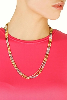 Multiple strings gold and silver beaded necklace by Sonnet Jewellery