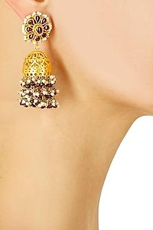 Gold finish tourmaline stone jhumki earrings by Sonnet Jewellery