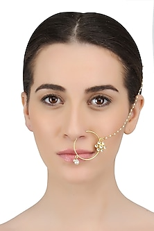 Gold Finish White Sapphire And Kundan Nath/ Nose Ring by Art Karat