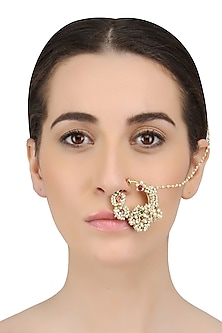 Gold Finish Kundan And Baby Pearls Nath/ Nose Ring by Art Karat