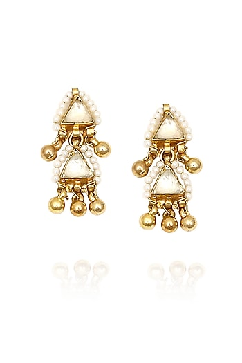 Gold finish white sapphire triangle earrings by Sonnet Jewellery