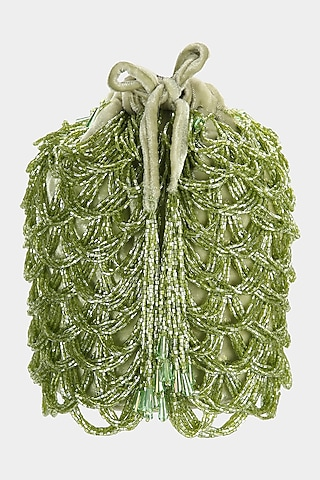 Green Embellished Scalloped Bucket Bag by Aanchal Sayal
