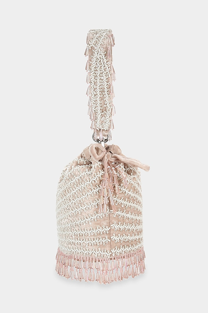 Blush Pink Embroidered Bucket Bag by Aanchal Sayal