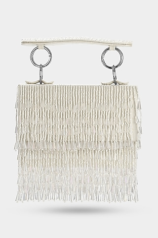 Ivory Embellished Mini Bag by Aanchal Sayal