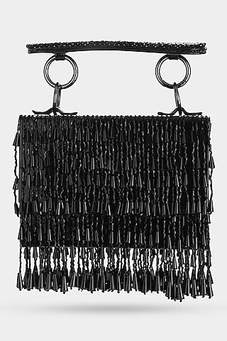 Black Embellished Mini Bag by Aanchal Sayal