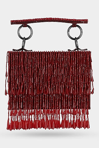 Red Embellished Textured Mini Bag by Aanchal Sayal