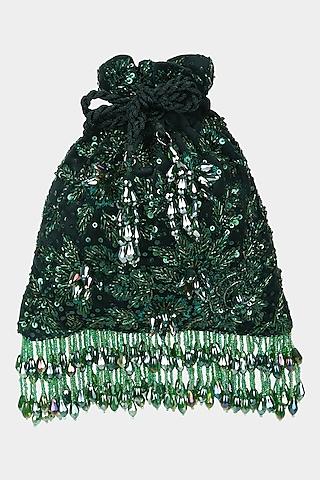 Green Floral Embellished Potli by Aanchal Sayal