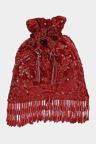 Red Floral Embellished Potli by Aanchal Sayal