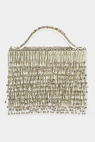 Ivory Embellished Textured Mini Bag by Aanchal Sayal