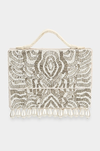 Ivory Cutdana Embroidered Mini Bag by Aanchal Sayal