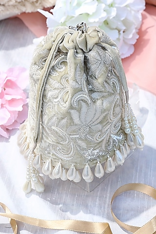Mint Green Embroidered Bucket Bag by Aanchal Sayal