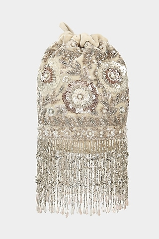 Ivory Silver Embellished Bucket Bag by Aanchal Sayal